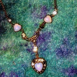 Vintage opal hearts Gold necklace